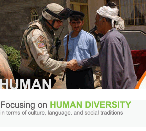 Focusing on human diversity in terms of culture, language, and social traditions